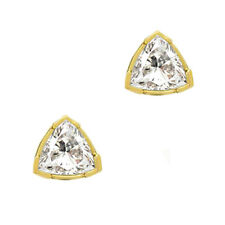 Trillion Cut Stud Earrings 2 ct Solid 14k Yellow Gold Screw Back Jewelry for Her