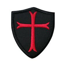 Knights Templar Cross Shield Embroidered Hook & Loop Tactical Morale Patch