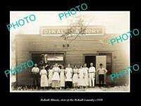 OLD POSTCARD SIZE PHOTO DEKALB ILLINOIS, THE DEKALB LAUNDRY BUILDING c1910