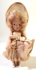 "5"" Antique Vintage 1950s Hard Plastic VIRGA Doll, Original Clothing, Mohair Wig"