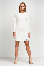 Womens Stunning Mini Dress With Lacy Frill Long Sleeve Sizes 8 - 12 FA445