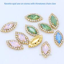 6x12 7x15 opal navette Costume Dress Sew On crystal glass Rhinestone Trim Button