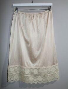VINTAGE Original 80's Nude Nylon Lace Hem Petticoat Size 14 #VIN73