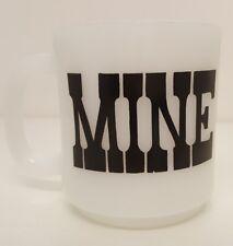 MINE Vintage Mug Coffee Cup White Milk Glass Home Kitchen Decor Collectible Me