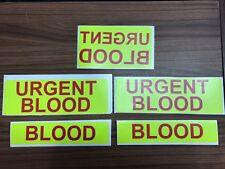URGENT BLOOD Sticker Set Bloodrunner Motorbike Motorcycle Emergency Bike