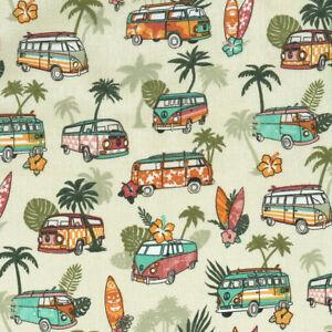 Textiles français SURF fabric 100% Cotton 160cm wide (Khaki)