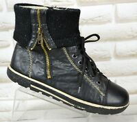 RIEKER Black Leather Womens Ankle Boots Outdoor Booties Shoes Size 6 UK 39 EU