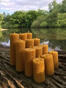 100% ORGANIC HANDMADE BEESWAX CANDLES * SET OF 12 CANDLES *