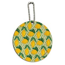 Lots of Lemons Pattern Round Wood Luggage Card Suitcase Carry-On ID Tag