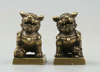 31MM Curio Chinese Bronze Foo Fu Dog Guardion Lion Pair Small Seal Signet Statue