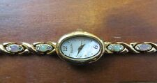 Elgin Womens Oval Mother of Pearl & Stones & CZs Gold Tone Bracelet Watch
