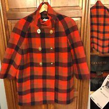 Coach Women L Turnlock Coat Red Multicolor Tartan Plaid 3/4 Sleeve Wool $595 NWT