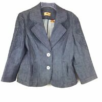 Dana Buchman Size 12 Denim Blazer Dark Blue Embroidered Jean Jacket EUC