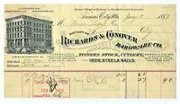 1887 RICHARDS & CONOVER HARDWARE KANSAS CITY MISSOURI BILLHEAD, TO UNION DEPOT
