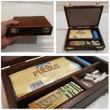 Porta tabacco astuccio in legno porta cartine filtri accendino sigarette tobacco