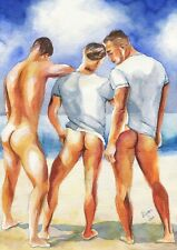PRINT of Original Art Work Watercolor Painting Gay Male Nude 3 guys on the beach