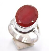 6.Gm Natural Gemstone Red Onyx oval  Ring 925 Solid Sterling Silver US 7.5 T-42