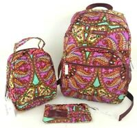 Vera Bradley Resort Medallion LU Backpack, Lunch Bunch & Ultimate Card Case SET