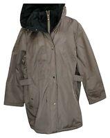 Susan Graver Women's Plus Sz 3X Water Resistant Jacket With Hood Brown A370869