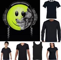 DJ Happy Face Skull Mens Funny DJing T-Shirt Dance Music 90s Rave Acid House