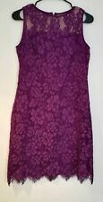 RALPH LAUREN LADIES LACE EVENING DRESS LINED PLUM/WH PICK FROM SIZES 6/8/14 NWT