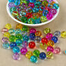 50/100pcs Transparent Faceted Round Acrylic Plastic Spacer Beads Jewelry Making