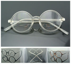 43/45mm Round Vintage Eyeglass Frame Black Amber Clear Glasses Glass Spectacles