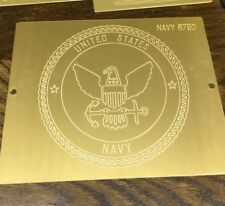 U S Navy Brass Engraving Plate For New Hermes Font Tray