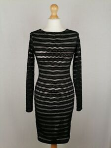 """Womens Reiss """"Cole"""" Long Sleeve Bodycon Dress UK Size 8 Stretch Black Polyester"""