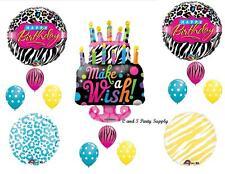 ZEBRA & CHEETAH CAKE HAPPY BIRTHDAY PARTY BALLOONS Decorations Supplies 16TH
