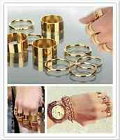 9PCS/Set Cute Urban Gold stack Plain Above Knuckle Ring Band Midi Rings 2 Style