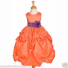 ORANGE FLOWER GIRL DRESS TAFFETTA WEDDING BRIDESMAID PAGEANT 6-18M 2 4 5T 6 8 10