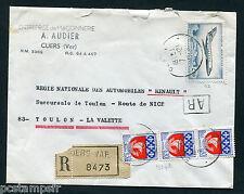FRANCE - timbre 42 aérien, SUR LETTRE RECOMMANDE et ARMOIRIES PARIS 1354B,