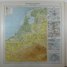 1929 ORIGINAL MAP ~ BELGIUM NETHERLANDS AMSTERDAM CITY PLAN ROTTERDAM NAMUR