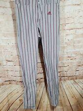 Adidas Triple Raya Gris Con / Rojo Rayas Béisbol Pantalones Hecho En USA 34