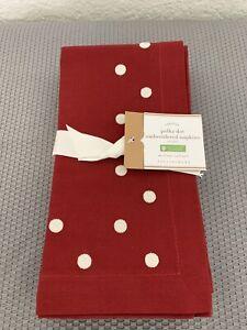 NWT Pottery Barn Red & White Polka Dot Embroidered Christmas Napkins Set Of 4