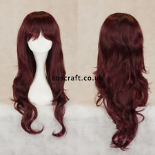 Long wavy curly cosplay wig with fringe in dark auburn red, UK seller, Charlie