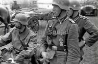WW2 Picture Photo German Soldiers with Motorcycle near Stalingrad 3115