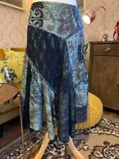 Joe Browns Size 14 Boho Blue Tie Dye Celtic Pattern Lace Mesh Patchwork Skirt Ha