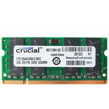 Crucial 4Gb Pc2-6400 Ddr2-800Mhz Ddr2 200Pin Ram For Toshiba Satellite l500-13W