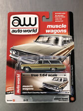 AUTO WORLD 1964 FORD COUNTRY SQUIRE MUSCLE WAGONS RUBBER TIRES TAN FREE SHIP.