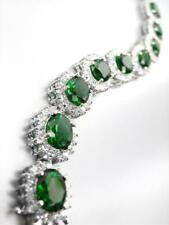 LUXURIOUS 18kt White Gold Plated Oval Emerald Green Crystals Links Bracelet