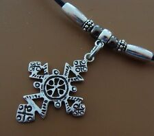 Sterling Silver Vintage Indian made CROSS (1980's) Pendant Necklace Jewelry