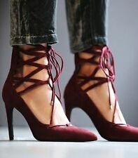 Jeffrey Campbell Burgundy Suede Leather Lace Up Hierro Stiletto Pump Size 10