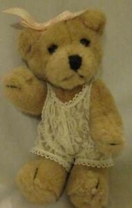Vintage Applause  Walt Disney Co  Brown Plush Bear TEDDIE wearing Lace Teddy