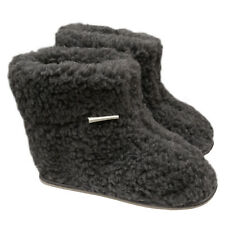 Ladies Women's Mens 100% Sheep Wool GREY Sheepskin Boot Slippers Durable Sole