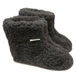 Ladies Women's Mens 100% Sheep Wool GREY Sheepskin Boot Slippers Durable Sole