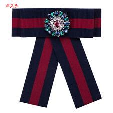 Vintage Preppy Large Bow Tie Necktie Stripe Ribbon Pendant Collar With Brooch