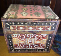 Vintage African Rattan Wood  Chest Trunk Foot Stool Ottoman Wicker decorated