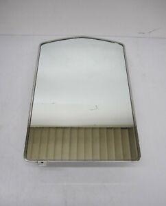 Vtg Bathroom Medicine Cabinet & Arched Mirror 3 Glass Shelves Recessed Storage